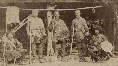 Khevsur warriors in their traditional armour