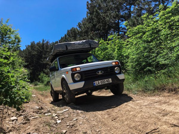 Lada Niva with roof top tent closed