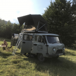 UAZ Buhanka with roof top tent wild camping