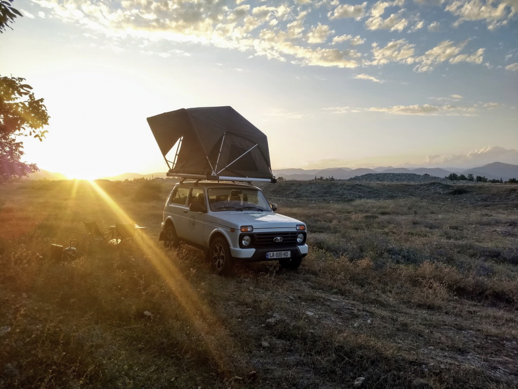 Lada Niva with roof top tent